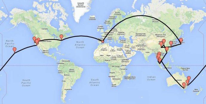 Ruta de nuestra vuelta al mundo
