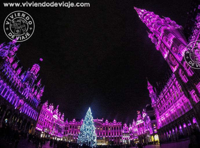 Iluminación de la Gran Place de Bruselas en Navidad