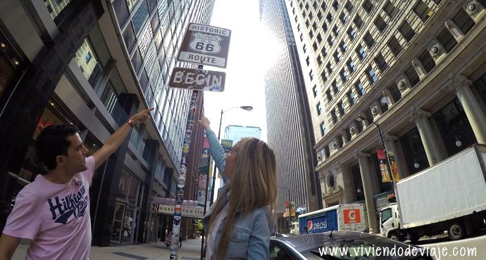 Que hacer en Chicago, señal Ruta 66