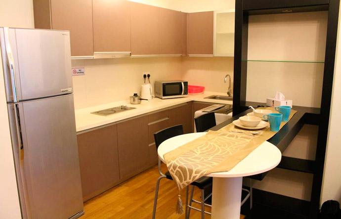 Cocina de nuestro Airbnb en Kuala Lumpur