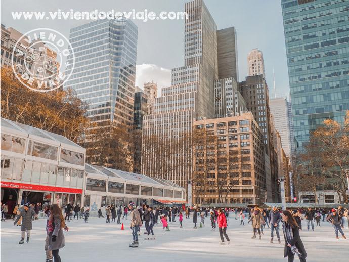Pista de patinaje de Bryant Park en Nueva York