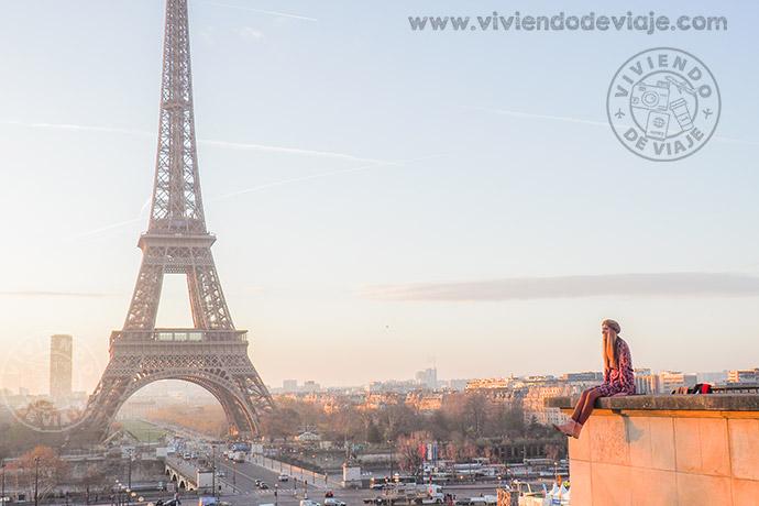 Vistas desde Trocadero al amanecer, viaje a París por libre