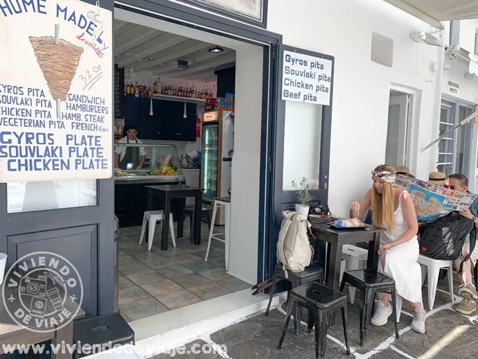 Dónde comer en Mykonos barato, pita gyros