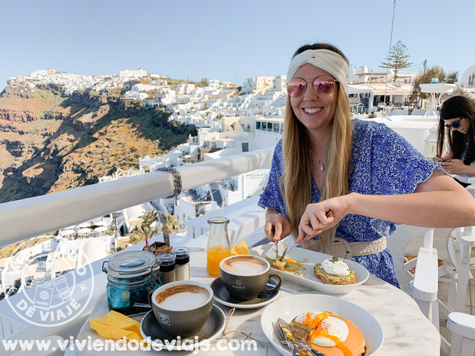 Cafe Galini, un sitio genial para desayunar en Santorini