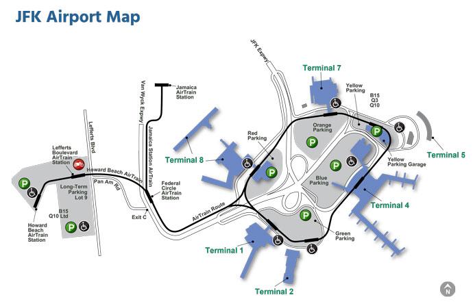 Mapa del aeropuerto JFK de Nueva York