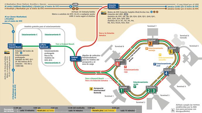 Mapa del AirTrain del aeropuerto JFK
