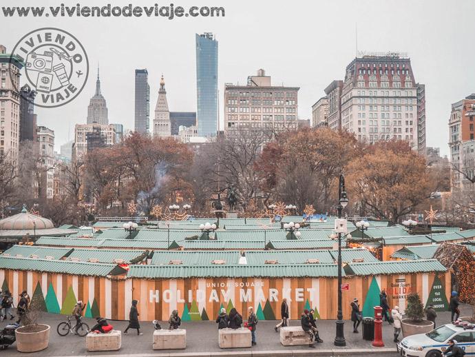Vistas desde el Whole Foods de Union Square en Nueva York en Navidad