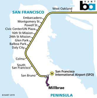 Mapa metro Bart aeropuerto San Francisco