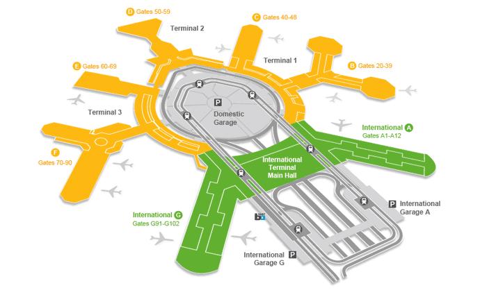 Mapa de las terminales del aeropuerto de San Francisco