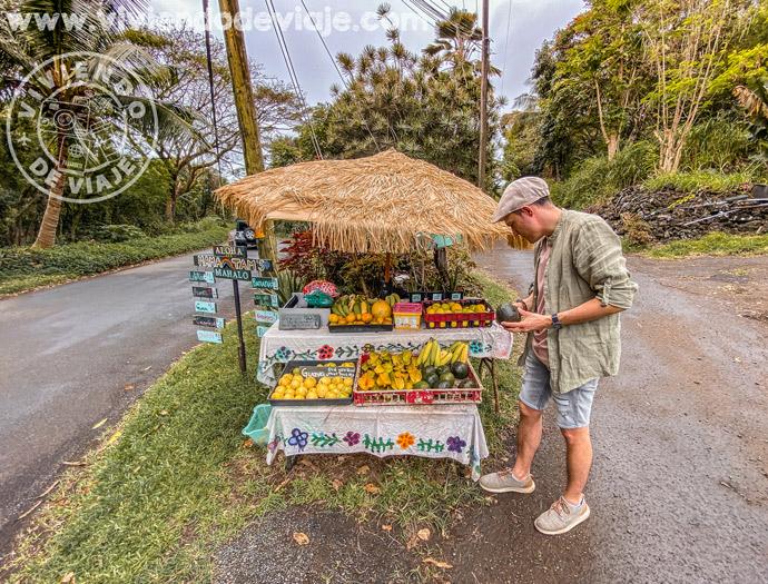 Puestos de fruta en la carretera de Hana