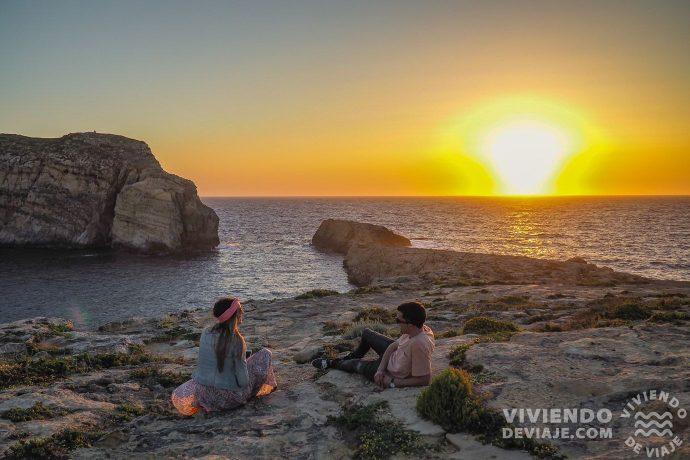 Atardecer en Gozo en nuestra ruta por Malta