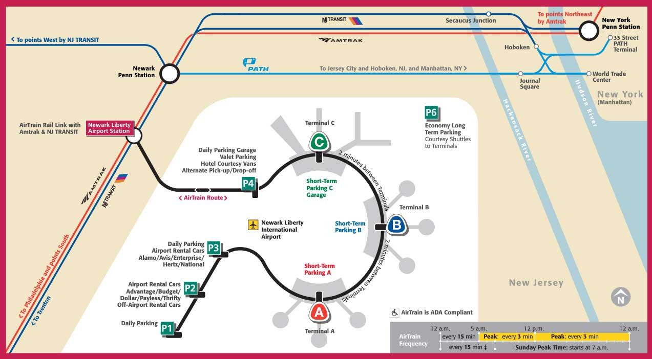 Mapa de las líneas de tren del aeropuerto de Newark a Manhattan